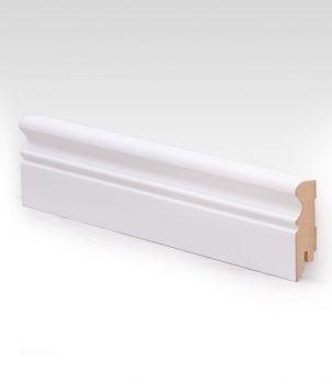 Dřevěná MDF podlahová lišta - bílá LEPD