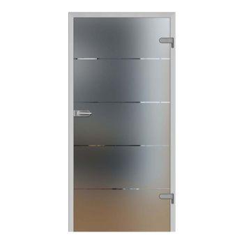 Skleněné dveře GALLA 3, pískované sklo s čirými proužky