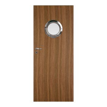 Interiérové dveře Standard natura kulaté okénko nerez